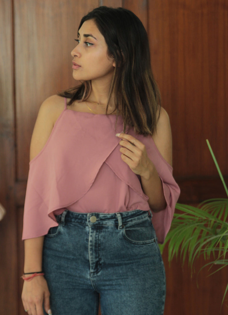 Blush Rose Cold Shoulder Top