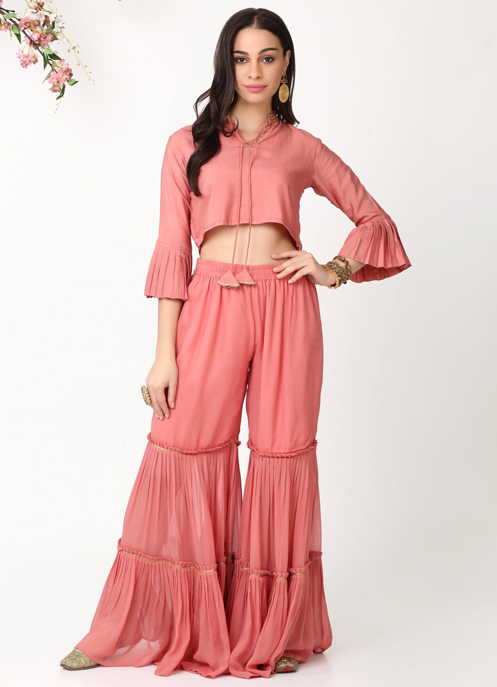 Rose Gold Pleated Sleeves Blouse