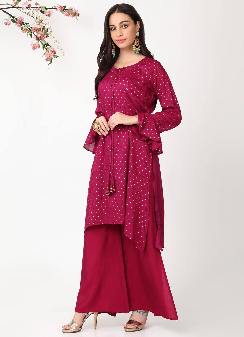 Wine handkerchief Kurta with Wine Pants