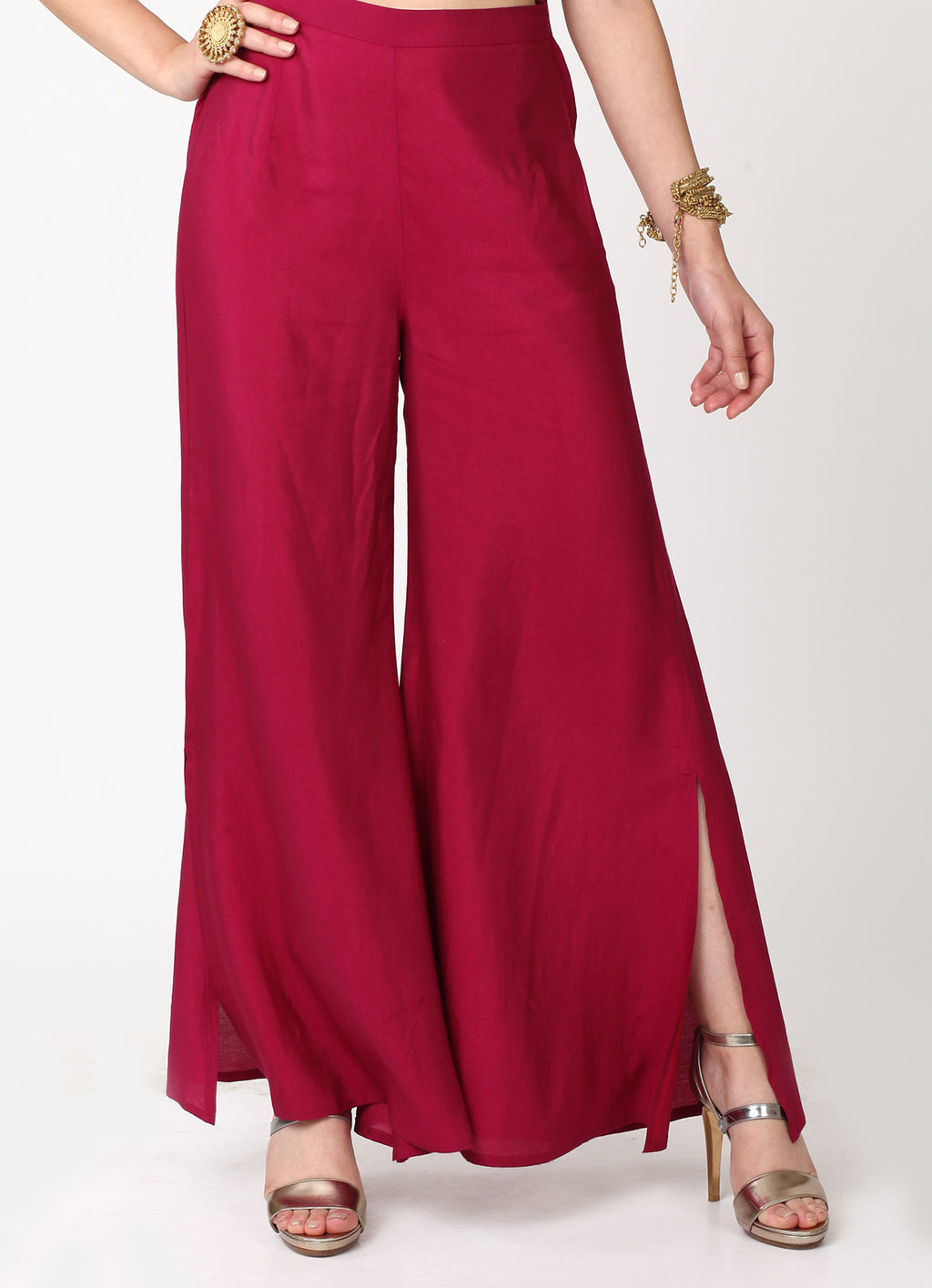 Wine Side Slit Pants