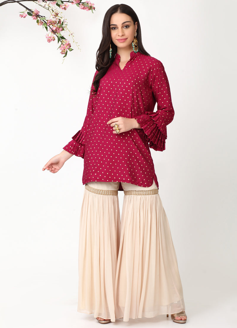 Wine Pleated Sleeves Kurta