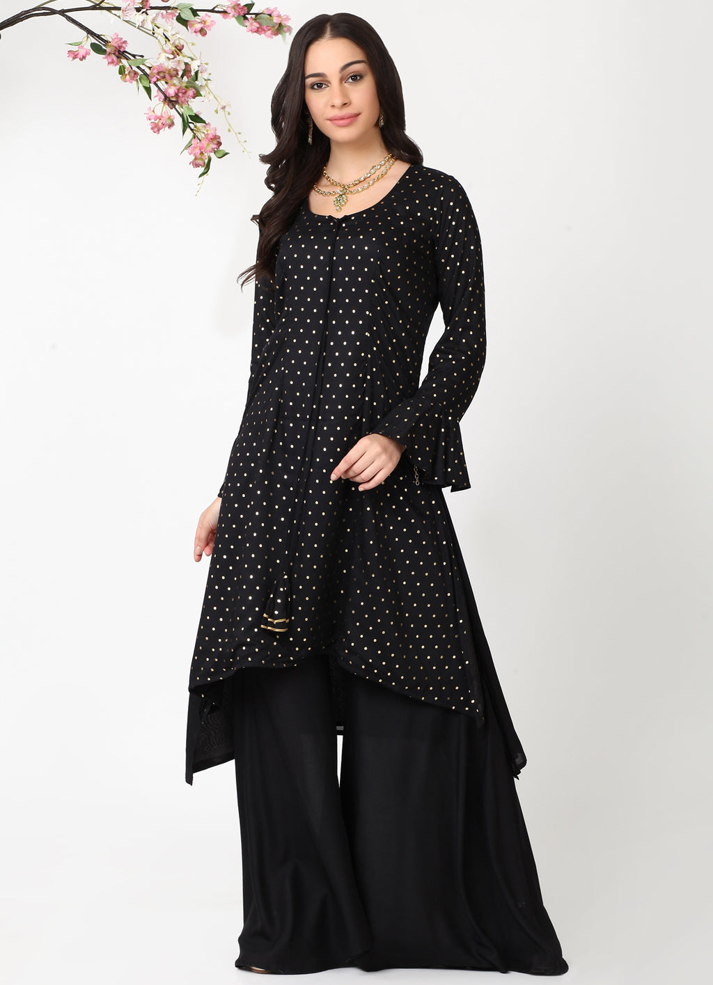 Black Handkerchief Kurta with Black Sharara