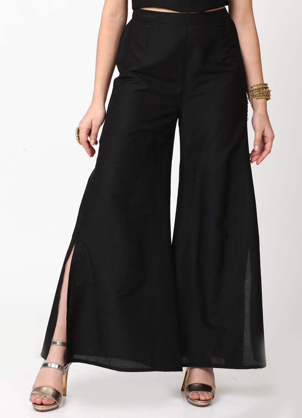 Black Wide Slit Pants