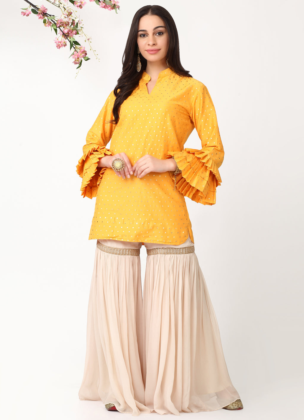Mustard Pleated Sleeves Kurta