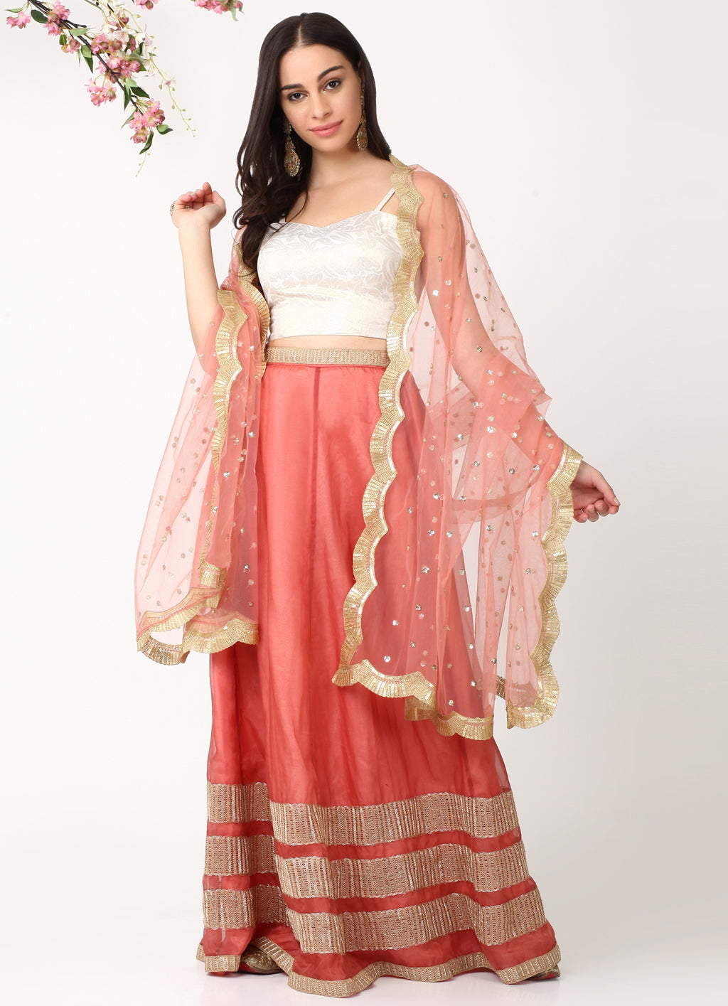 Rose Gold Net Scallop Dupatta