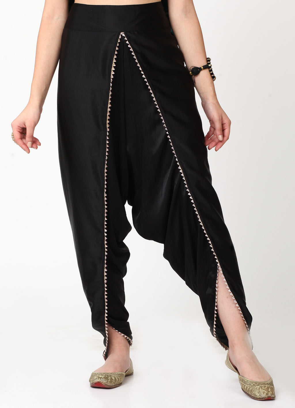 Black Dhoti With Gota Trim