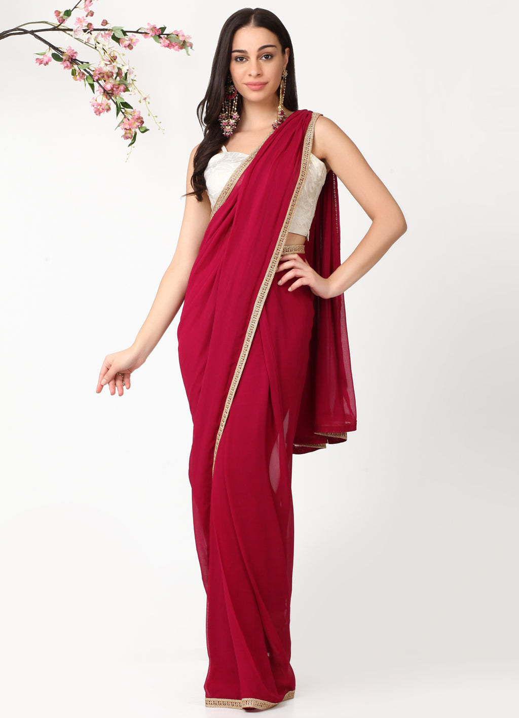 Wine Drape Churidar Sari