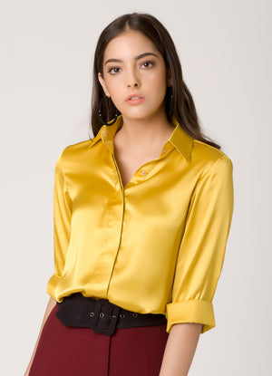 Yellow Concealed Placket Shirt