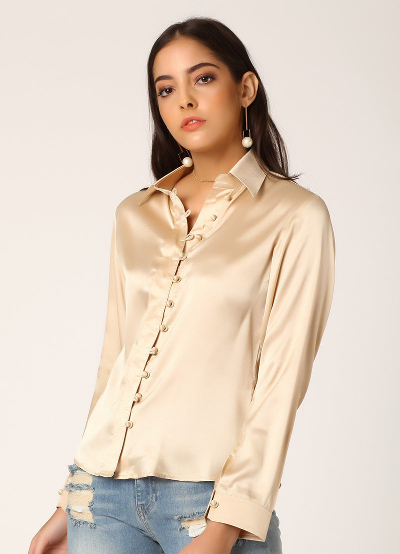 Cream Satin Shirt