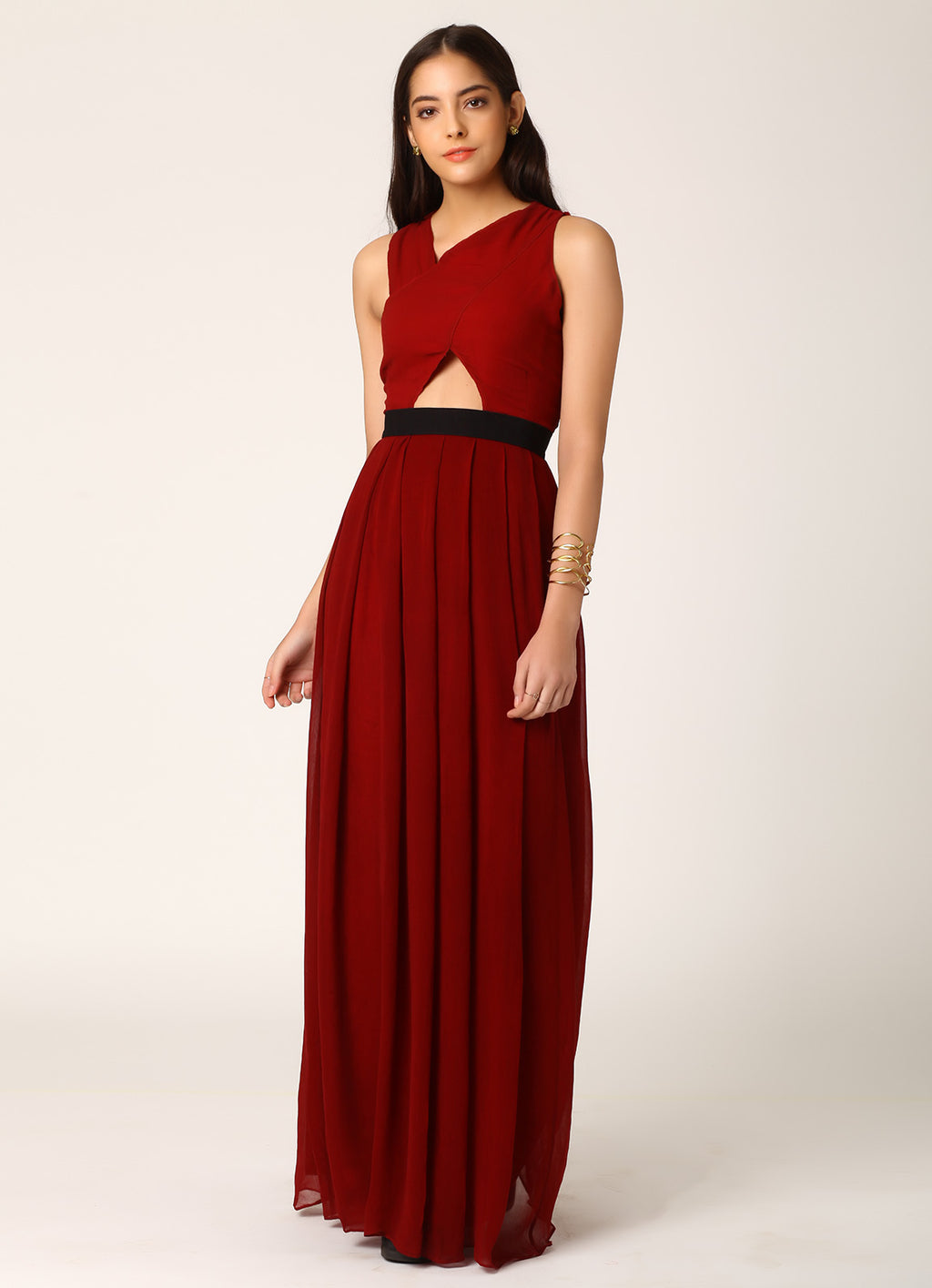 Wine Cutout Gown