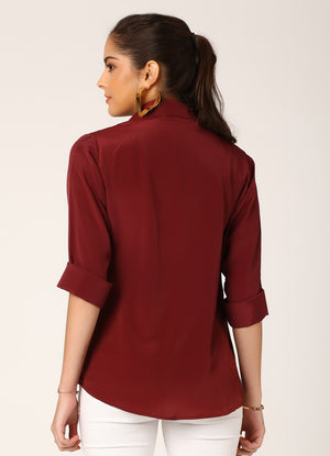 Wine Crepe Shirt