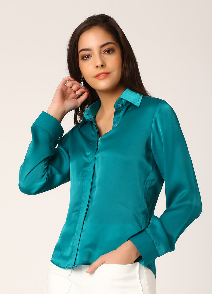 Teal Satin Shirt