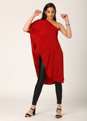 Maroon One Shoulder Asymmetrical Top