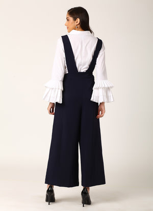 Navy Dungaree Style Jumpsuit