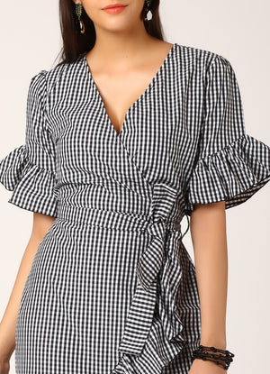 Black and White Gingham Wrap Dress