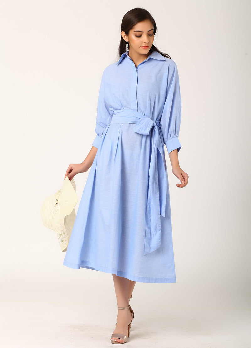 Midi Shirt Dress with Tie Belt