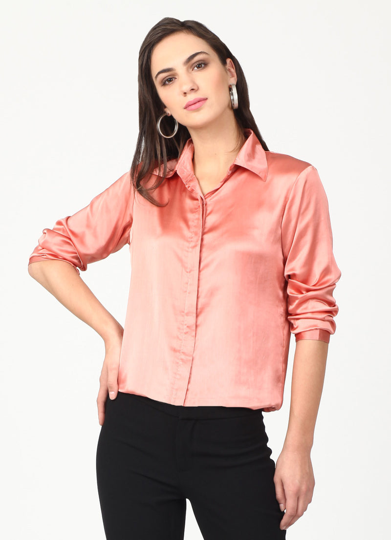 Rose Gold Satin Shirt