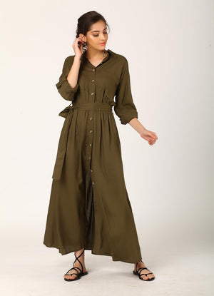 Olive Trench Dress with Tie Belt