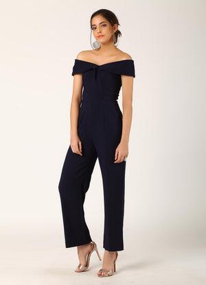 Navy Off-Shoulder Jumpsuit