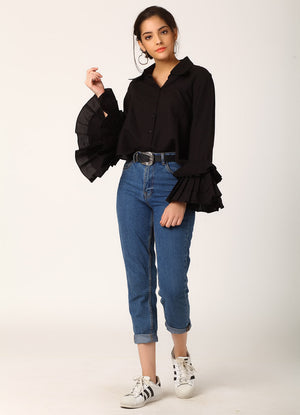 Black Shirt with Pleated Sleeves