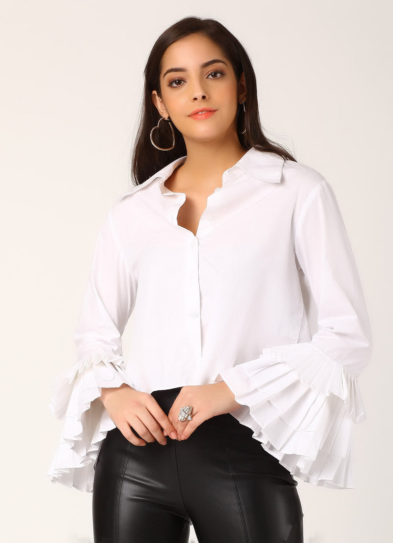 White Shirt with Pleated Sleeves