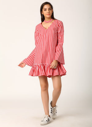 Red Gingham Dress with Choker
