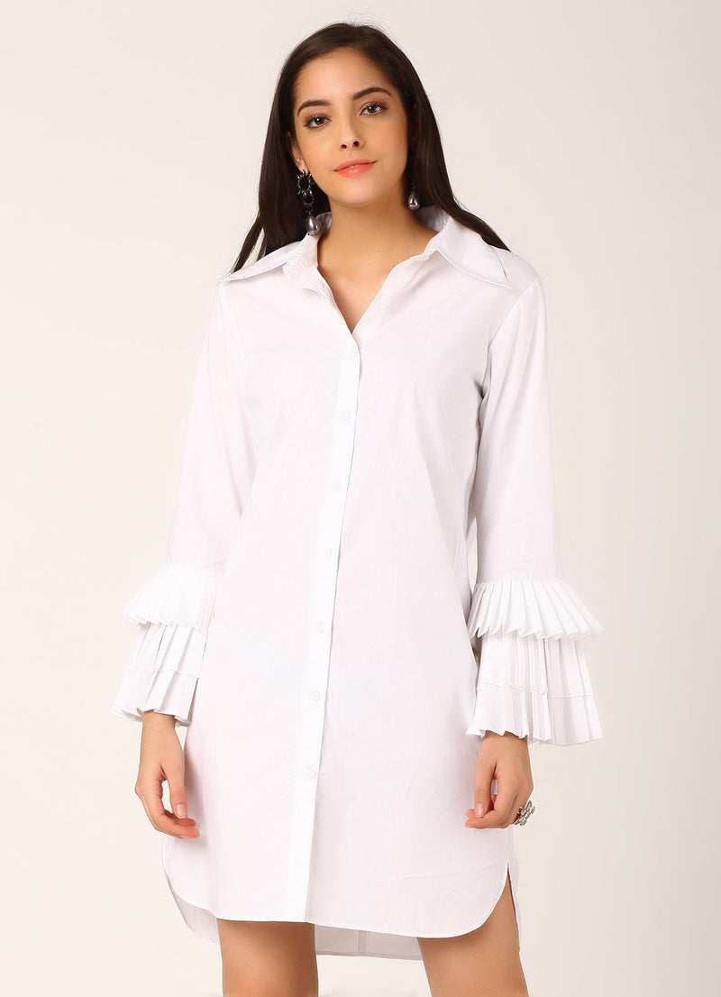 White Shirt Dress with Pleated Sleeves