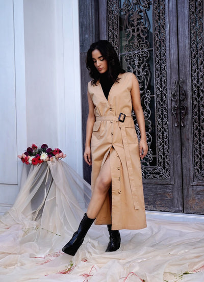 Beige Trench Dress With Belt