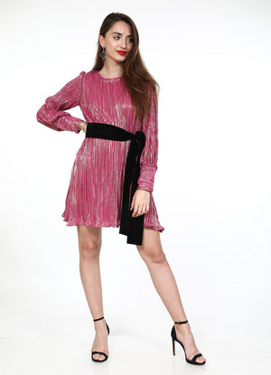 Pink Plisse Shift Dress with Velvet Belt
