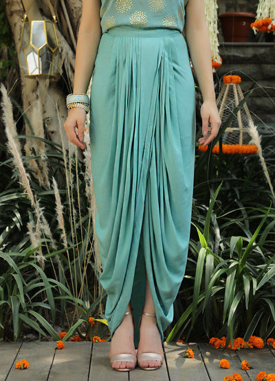 Aqua Pleated Dhoti Skirt