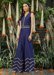 Navy Embroidered Jumpsuit
