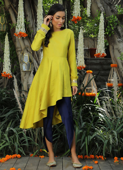 Lime Mirror Work High Low Kurta