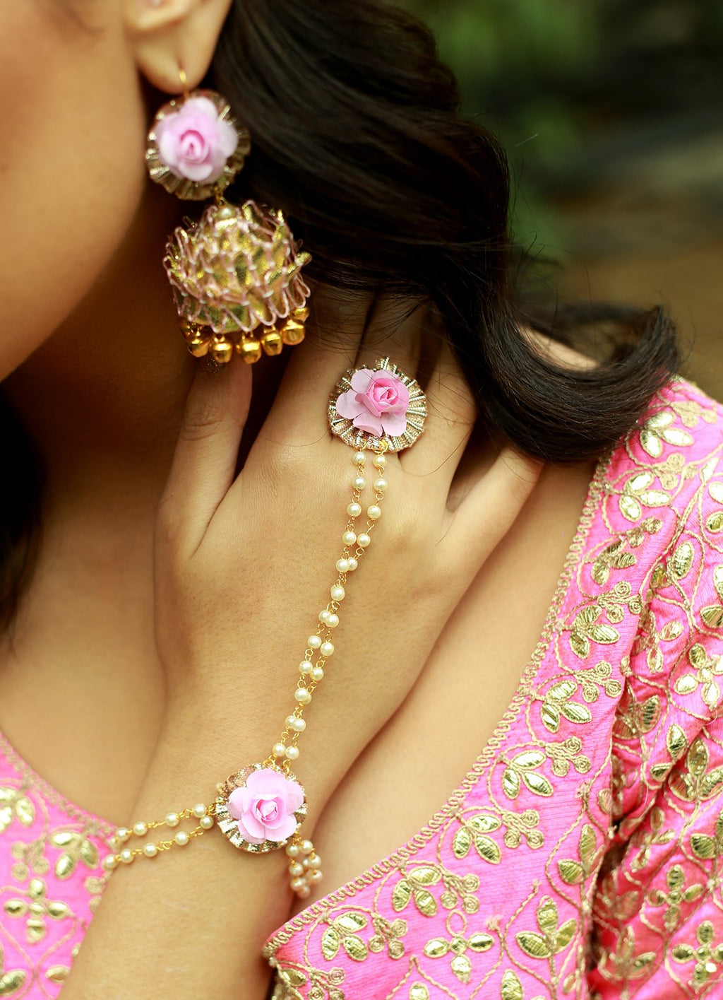 Baby Blush Haath Phool With ring By Prune