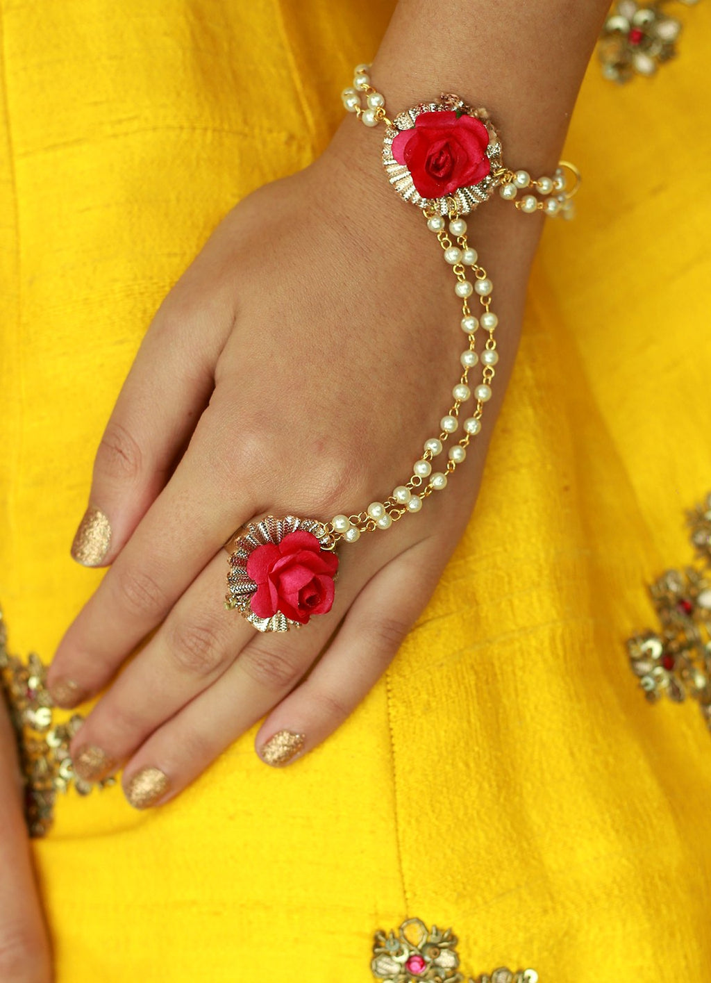 Power Pink Haath Phool With ring By Prune