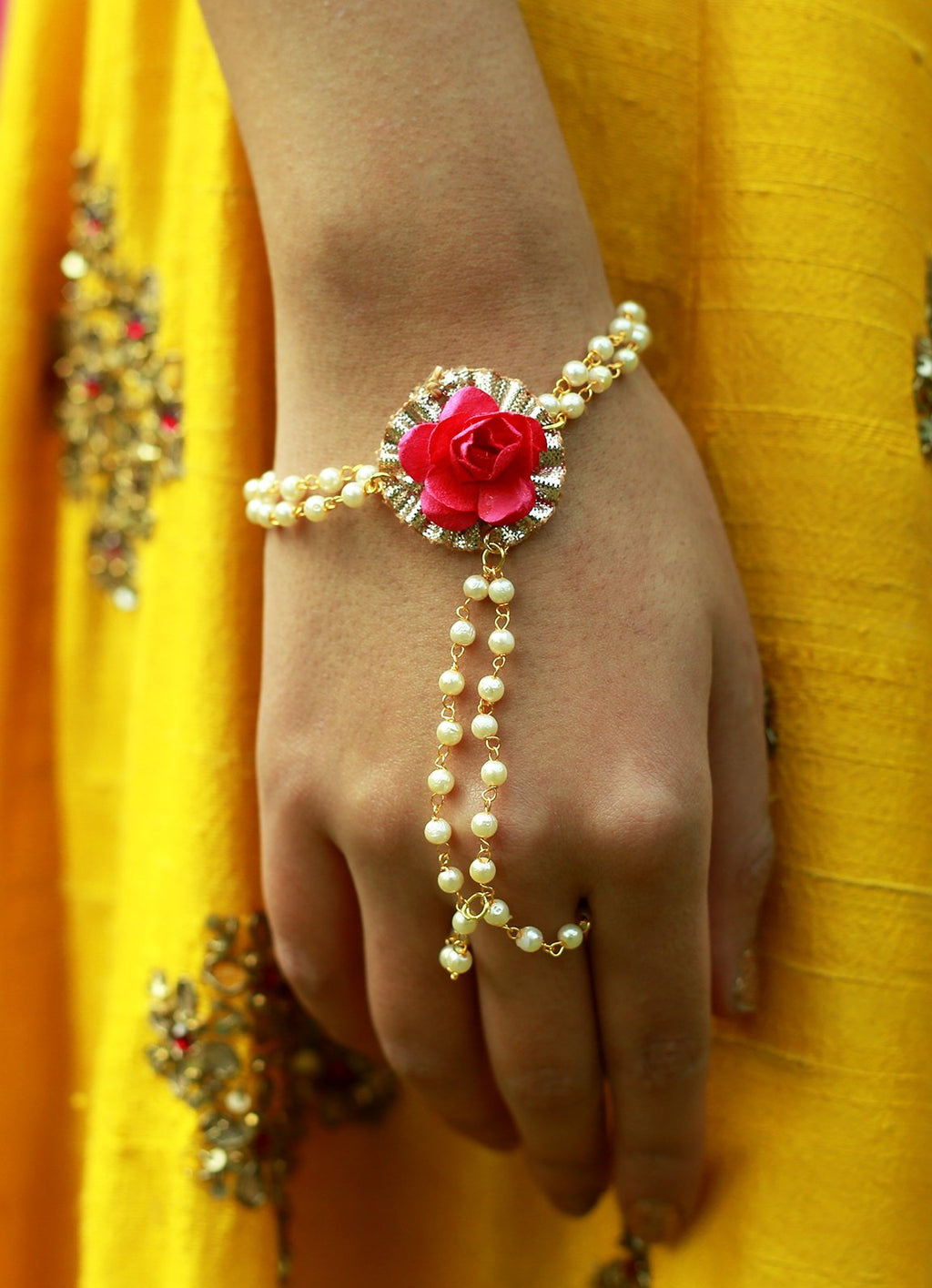 Power Pink Pearl & Gota Haath Phool By Prune