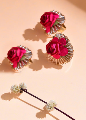Power Pink Floral Ring - Set Of Three By Prune