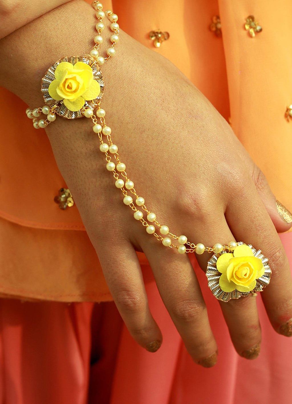Spring Yellow Haath Phool With Ring By Prune