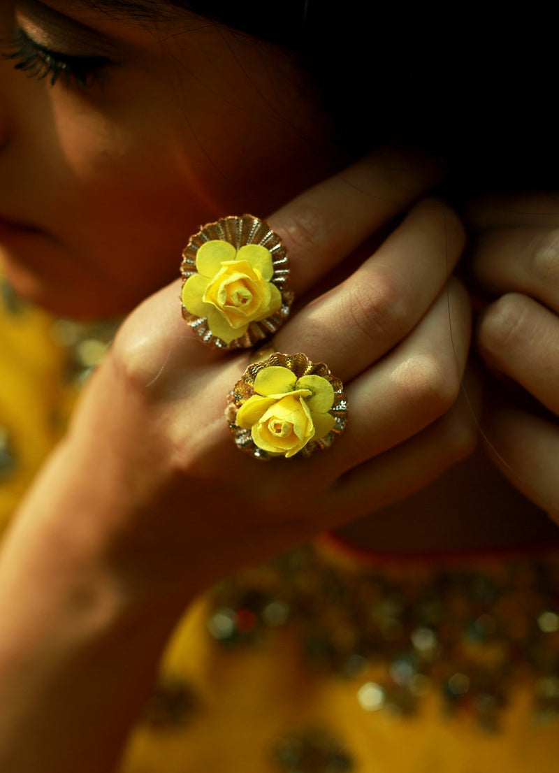 Spring Yellow Floral Ring - Set Of Two By Prune
