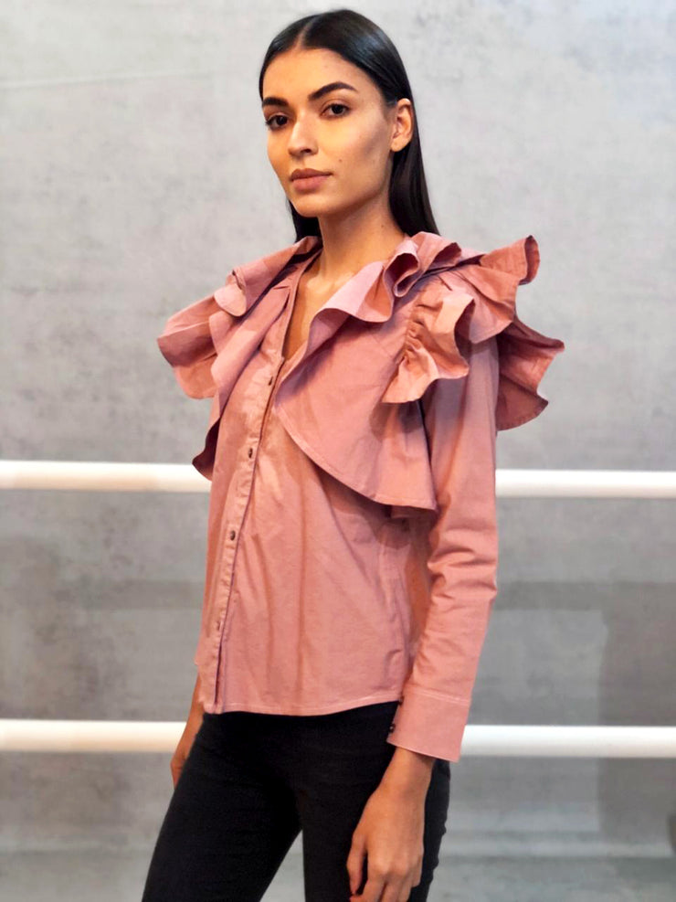 Onion Pink Cotton Ruffle Shirt