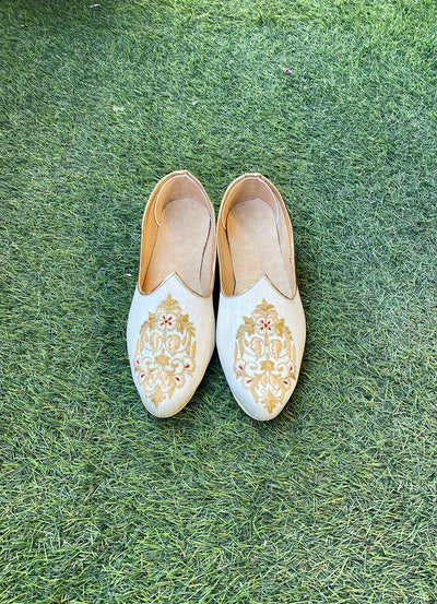 White and gold thread work  juttis