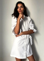 White Pouf Sleeve Dress with Belt