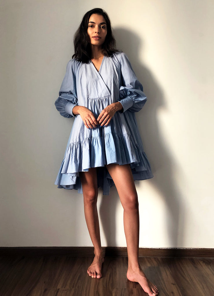 Relaxed Cotton Tiered Ruffle Dress