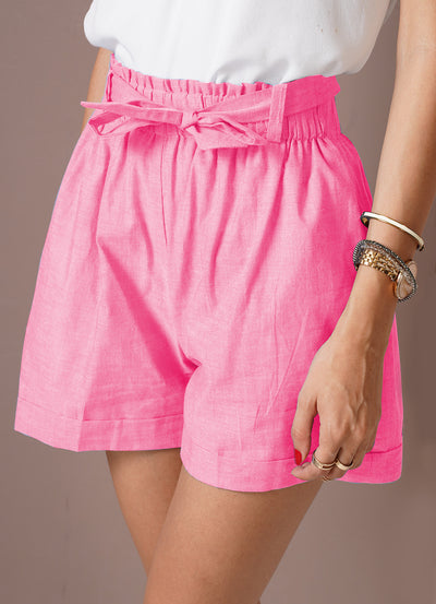Ridhi's power pink chambray shorts