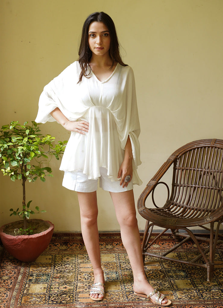 Seher White Butterfly Top