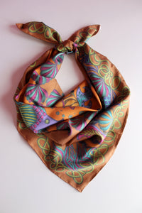 colourful sea life theme silk scarf with luxury silk twill