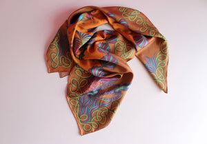 brown and orange silk twill scarf
