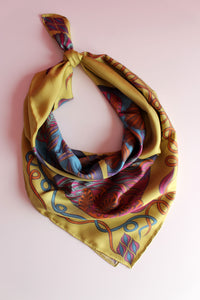 golden yellow luxury silk scarf