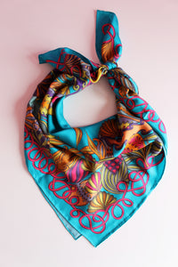 turquoise tropical pattern luxury silk scarves