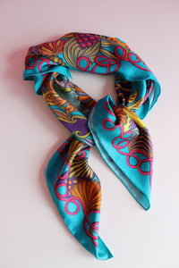 turquoise silk scarf with luxury silk twill