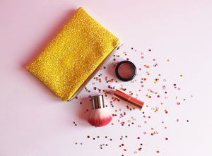 yellow glitter cosmetic bag